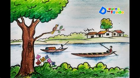 Village Boat Drawing by How To Draw Scenery Of Village River For Kids Step By