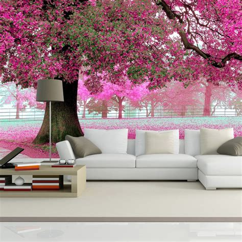 custom photo wall paper  romantic cherry tree tv