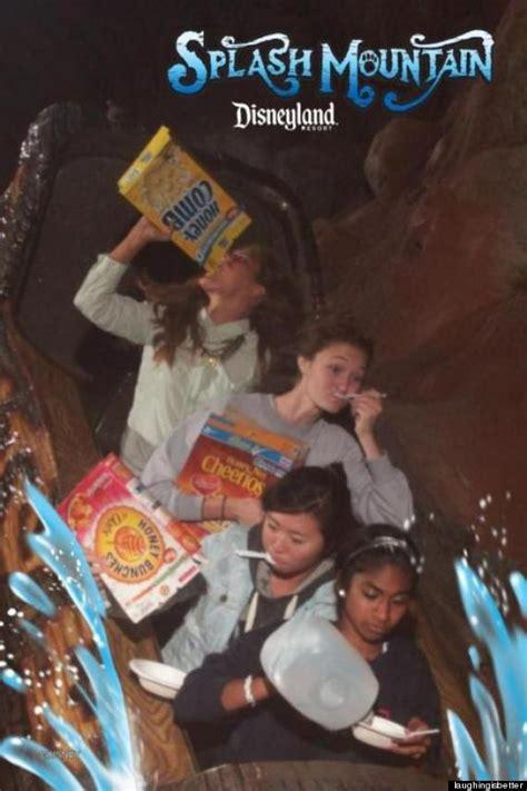 teens eat breakfast cereal  disneylands splash mountain