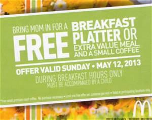 Free McDonalds Breakfast Platter on Mother's Day