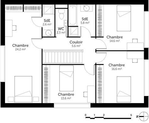 plan maison etage 4 chambres 1 bureau plan maison à étage avec 4 chambres ooreka