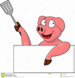 Funny Pig Cartoon With Blank Sign Royalty Free Stock ...