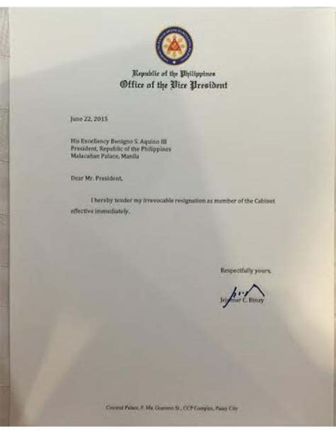 cabinet in a sentence from aquino cabinet one sentence binay resigns from