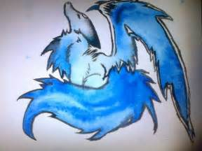 Blue Anime Wolves with Wings