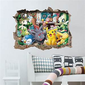 cartoon game pikachu pokemon go wall stickers for kids With pokemon wall decals