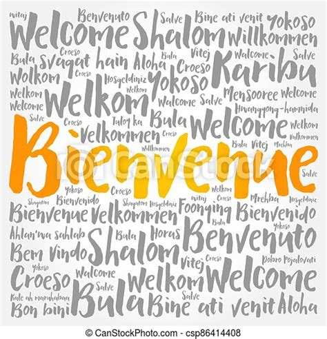 Bienvenue (welcome in french) word cloud concept ...