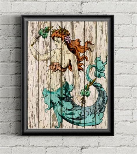  aqua beach scene heart wall decal. Mermaid Wall Art Print Rustic Decor-Beach Decor Coastal