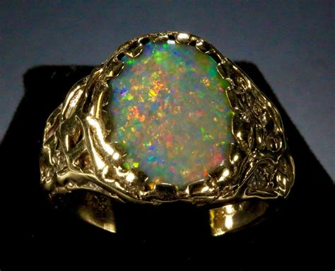Men's Black Opal Ring Huge Opal 16x12mm. Solid 14k Yellow