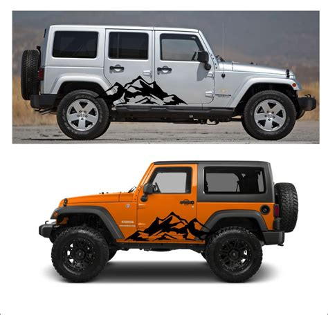 jeep set 2pcs mountain fender side decal sets graphic jeep wrangler