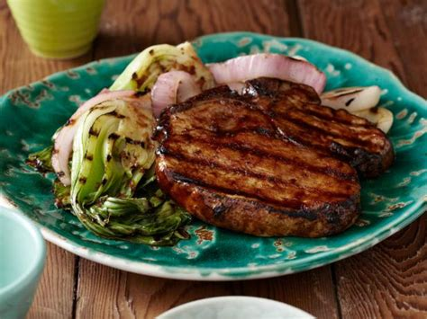 grilled korean style bbq glazed pork chops  red onions