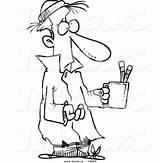 Poor Cartoon Clipart Coloring Begging Helping Outline Sick Beggar Pencil Cup Drawing Vector Homeless Showing sketch template