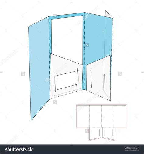 brochure folder with business card pocket and die cut layout stock vector illustration 193947851