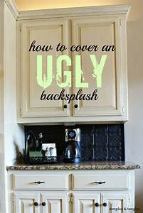 how to cover an ugly kitchen backsplash way back With kitchen cabinets lowes with album cover wall art