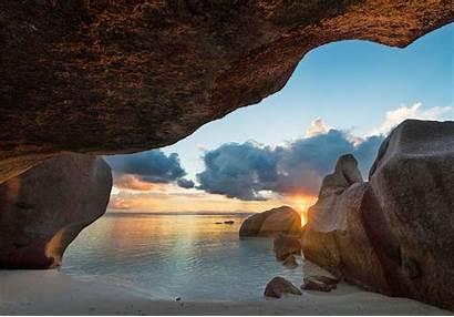Rocks Sunset Sea Cave Seychelles Island Sand