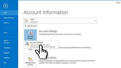 microsoft outlook ssl secured pop email account settings