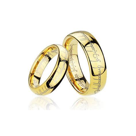 men s and women s gold plated tungsten lord of the rings wedding band ring tr01 ebay