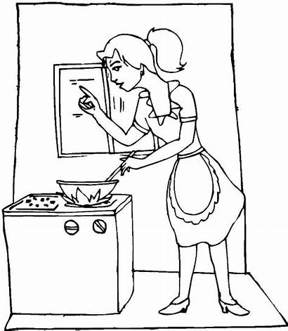 Cooking Coloring Kitchen Mom Pages Utensils Mother