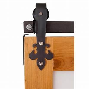 fluer de lis 7 ft track in raw steel barn door hardware With 7 foot barn door hardware