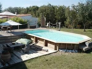 Piscine Bois Semi Enterrée : terrasse piscine semi enterree ~ Melissatoandfro.com Idées de Décoration