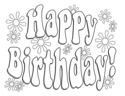 happy birthday coloring pages printable  coloring pages