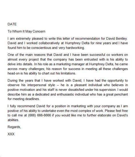 sample recommendation letter   documents  word