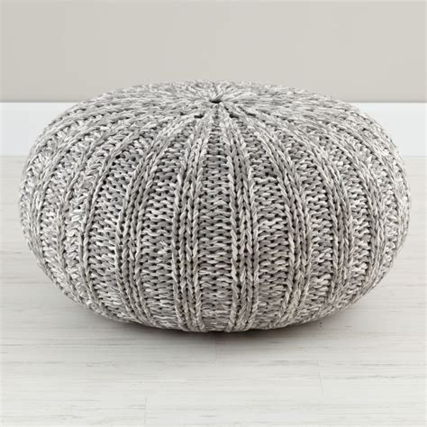 Variegated Grey Pouf  The Land Of Nod