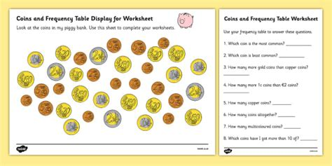 coins in piggy bank euros worksheets money maths numeracy