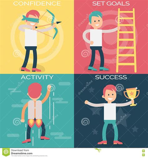 Psychology Terms Illustrations For Achieving Success Stock