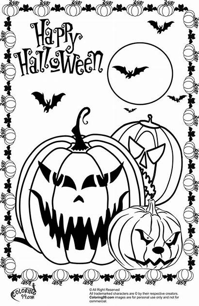 Halloween Coloring Scary Pages Pumpkin Pumpkins Colors