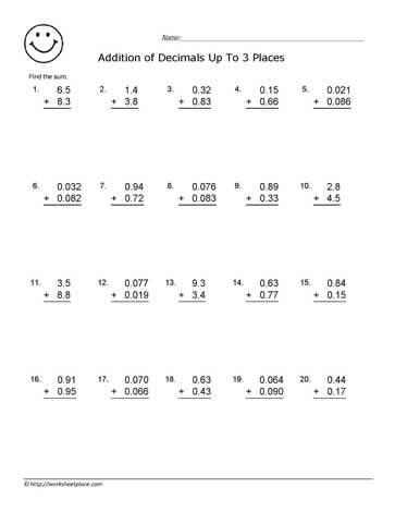 4 digits addition with decimals adding decimals worksheets