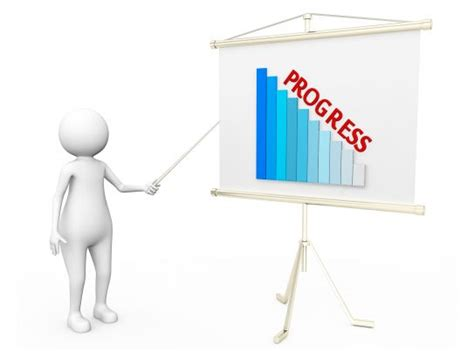 man showing graph bar  progress  flip chart stock