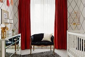 Black and White Nursery with Red Curtains - Contemporary