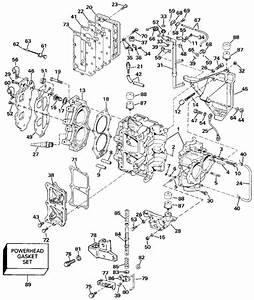 Johnson Cylinder  U0026 Crankcase Parts For 1990 20hp Tj20cresb