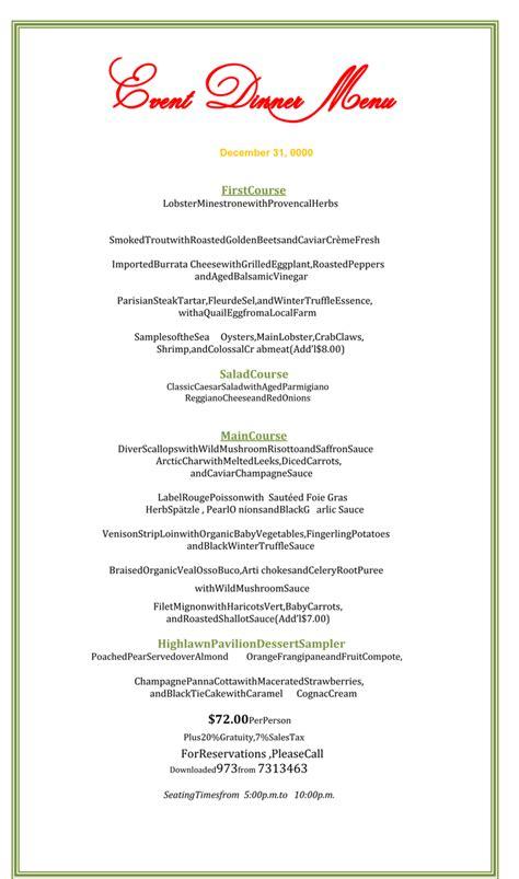 dinner menu template  printable menu designs