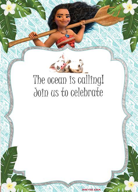 moana birthday invitation template  printable