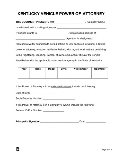 free kentucky motor vehicle power of attorney form pdf