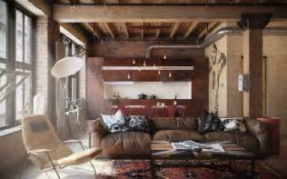 home interiors warehouse decorate with leather furniture in a vintage industrial style