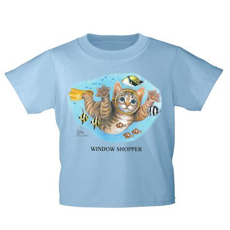 kinder  shirt mit print cat katze taucher fische ka