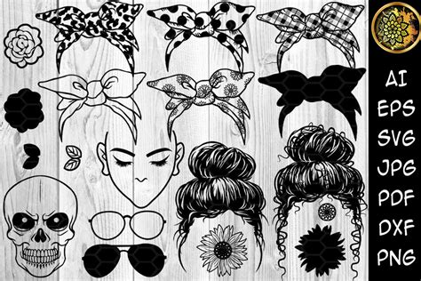 Overlay found in accessories as nose ring. Messy Bun Bandana Mom Life SVG Clip Art By Mandala Creator ...