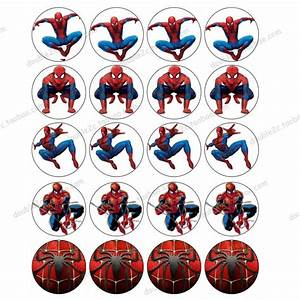 """Spiderman Edible Wafer Paper for Cup Cake Topper 2"""" 20pcs"""