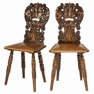 Pair Of Carved Face Hall Chairs At 1stdibs