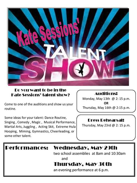 talent show registration form   templates