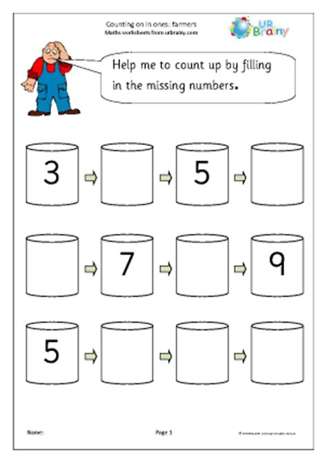 completing a number line farmers number lines maths worksheets for later reception age 4 5