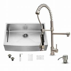 vigo all in one farmhouse apron front 33 in 0 hole single With apron front sink with faucet holes