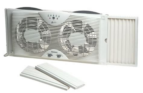 holmes twin window fan with comfort control thermostat holmes dual blade twin window fan with one touch
