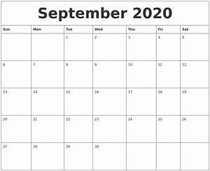 Sept 2020 Calendar Printable September 2020 Calendar Pages