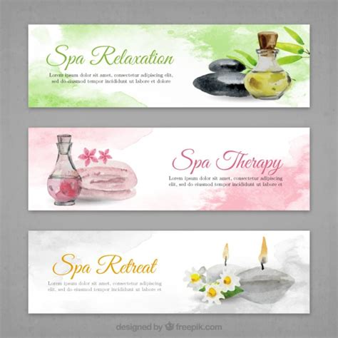 spa banners set  watercolor effect vector