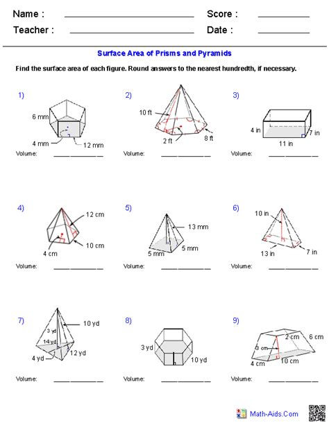 volume and surface area of 3d shapes worksheets worksheets