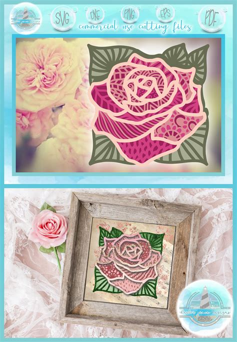 The digital download files included are: 3D SVG Layered Design   3D Rose Mandala   3D Flower ...