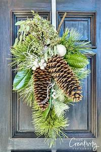 Christmas wreath swag with pine, large sugar pine cones